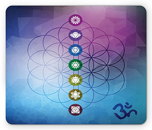 Chakra Flower - Lunarable Sacred Geometry Mouse Pad, Seven Chakras on a Flower of Life Motif with Fractal Ombre Effect Backdrop, Standard Size Rectangle Non-Slip Rubber Mousepad, Multicolor