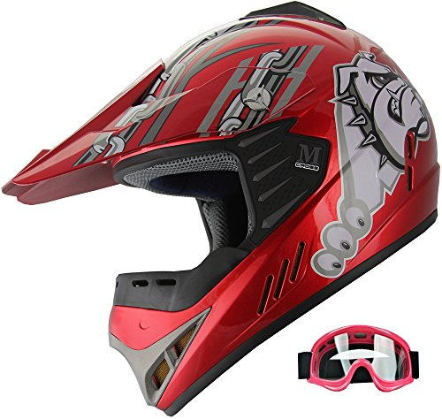 Kid ATV Motocross Dirt Bike Off-road Helmet YA96 +goggles (YS, Red)