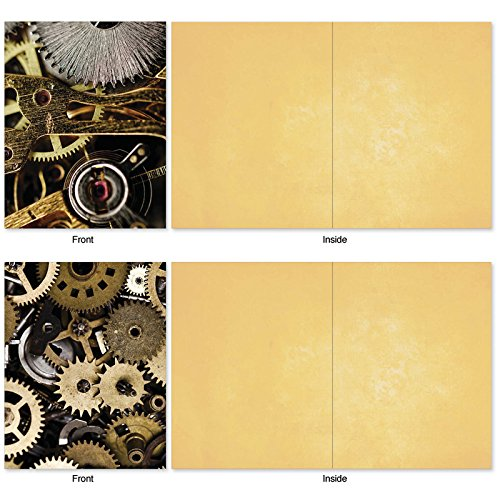 M2014 Gearing Up: 10 Assorted Blank All-Occasion Note Cards Feature Cogs, Gears and Other Things That Make Machines Tick, w/White Envelopes. Photo #5