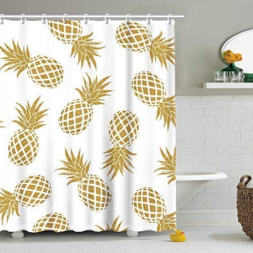 Stacy Fay Pineapple Shower Curtain, Summer Fruit Fabric Bathroom Curtains  Set with Hooks Gold Ananas Bathroom Decor Machine Washable 6x6 Inches