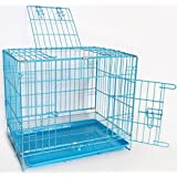 Ankit Dog Puppy Cage Folding 2 Door Crate With Non-Chew Metal Tray - 60X42X51 Cm - Blue