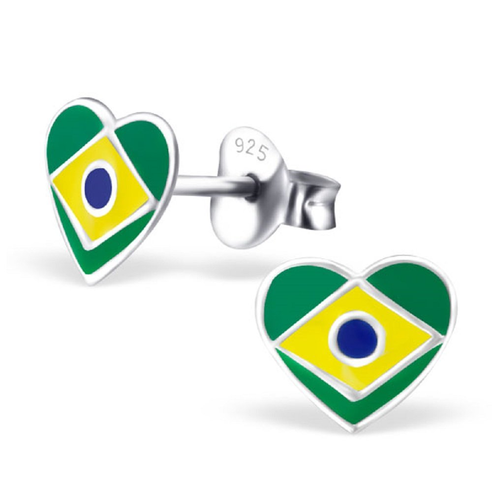 925 Sterling Silver Brazil Heart Stud Earrings 23427