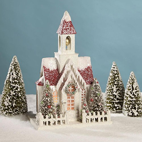 Bethany Lowe Large Christmas Mantel Village Church with Red Roof