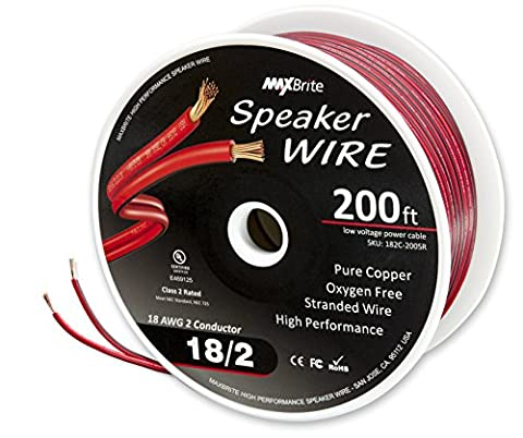 High Performance 18 Gauge Speaker Wire, Oxygen Free Pure Copper - UL Listed Class 2 (200 Feet - 2 Conductor Audio