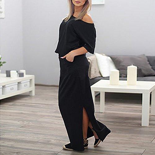 un atractivo Verano Vestido Mujeres Negro Casa moda de verano playa maxi de mujeres hombro largo ropa de Vestido Casual con Pocket Moda las de maxi lado wHPHTEq