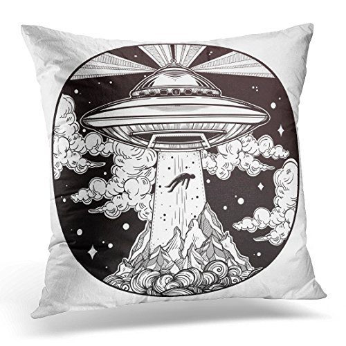 Cover Extraterrestrial Alien Spaceship Ufo with Flying Saucer Abducting Human Conspiracy Theory Tattoo Invasion Decorative Pillow Case Home Decor Square 16x16 Inches Pillowcase ()