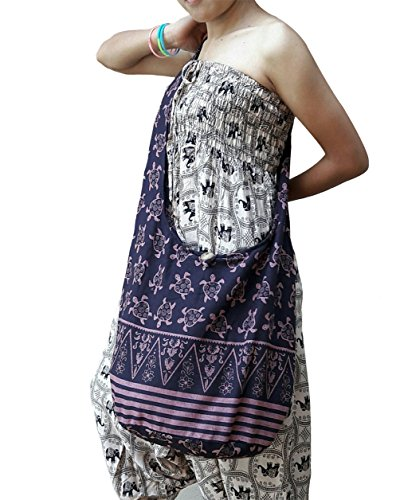 BTP! Turtle Sling Crossbody Shoulder Bag Purse Hippie Hobo Thai Cotton Gypsy Bohemian Large (Eggplant OW11) by BenThai Products