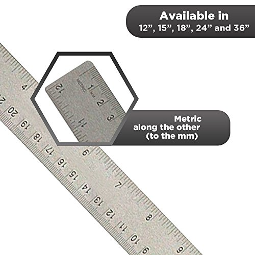 24 inch Stainless Steel Metal Ruler 2 Pack- 24 inch High Grade Flexible Stainless Steel Ruler with Non Slip Cork Base for Excellent Precision and Accuracy (2 Pack) by Breman Precision (Image #4)'