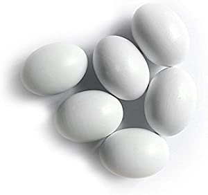 SallyFashion 6Pcs Wooden Faux Fake Eggs, Easter Eggs, Children Play Kitchen Game Food Toy - White Color