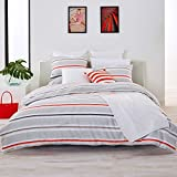 Lacoste Bastia Coral and Grey Striped Brushed Twill Comforter Set, Twin/Twin Extra Long