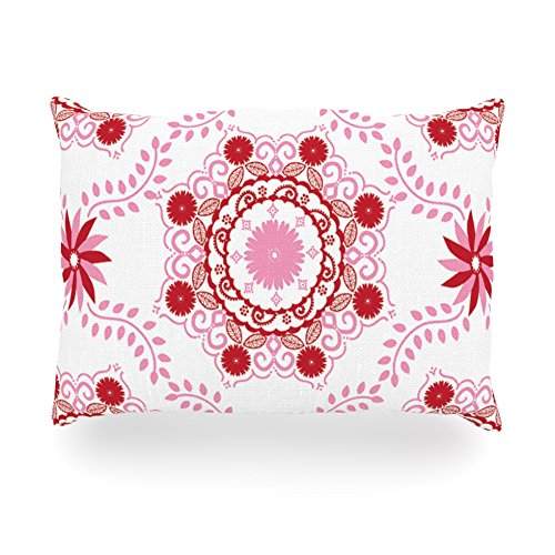"""Kess InHouse Anneline Sophia """"Let's Dance Red"""" Pink Floral Oblong Rectangle Outdoor Throw Pillow, 14 by 20-Inch"""