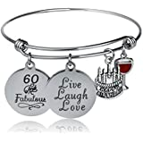 YeeQin Happy Birthday Bangles, Cake Cheer Live Laugh Love Charms Bangle Bracelets, Gifts For Her (60th Birthday)