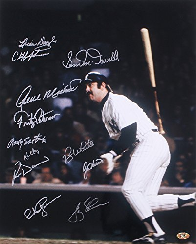 THURMAN MUNSON TEAMMATES SIGNED YANKEES PHOTO DOC MEDICH ROY WHITE GENE MICHAEL+ (White Roy Jersey)
