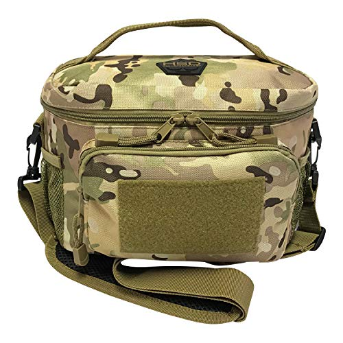 HSD Tactical Lunch Bag - Insulated Cooler, Lunch Box with MOLLE/PALS Webbing, Adjustable Padded Shoulder Strap, for Adults and Kids (Multicam)