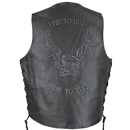 Xelement VE9700 Mens Black Embossed Live to Ride Eagle Leather Vest - (Eagles Embossed Leather)
