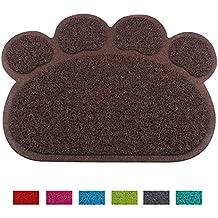 Jomia Pet Dog Cat Puppy Kitten Dish Bowl Food Water Feeding Placemat, PVC Non-Slip Cat Litter Mat Paw Shape (Brown)