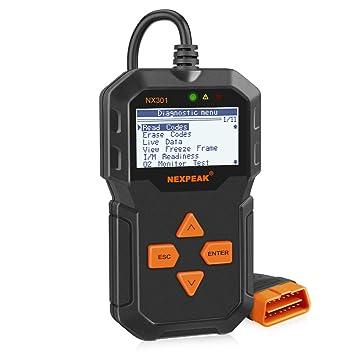 NEXPEAK NX301 - Escáner OBD2, Herramienta de diagnóstico de Códigos de Error para la Mayoría de los Coches OBD2 Desde 1996: Amazon.es: Coche y moto