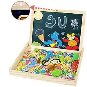 Symiu Rompecabezas Madera Pizarra Blanca Tablero Pizarra Magnetica Letras Dibujo Doble Cara para Niños 3 4 5 6