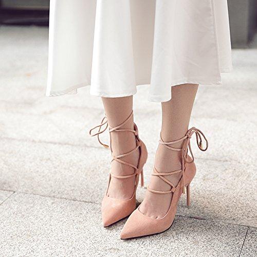 mujer luz de zapatos de de finos la zapatos Cross con una Rosa la marea Strap 37 punta trenza sola de tacones Tnqf8g1