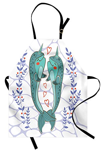 Narwhal Apron by Ambesonne, Valenties Day Themed Illustration with Colorful Whales in Love Aquatic Adoration, Unisex Kitchen Bib Apron with Adjustable Neck for Cooking Baking Gardening, - Valenties Day Ideas
