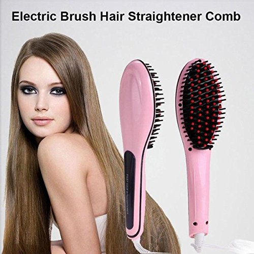 Price comparison product image ININDIA Hair Straightener Comb With Temperature Setting (Girlish PINK)