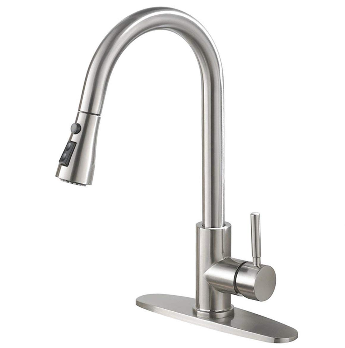 IKEBANA Commercial High Arch Pull Down Sprayer Brushed Nickel Kitchen Faucet, Swivel Single Lever Stainless Steel Kitchen Sink Faucet With Deck Plate