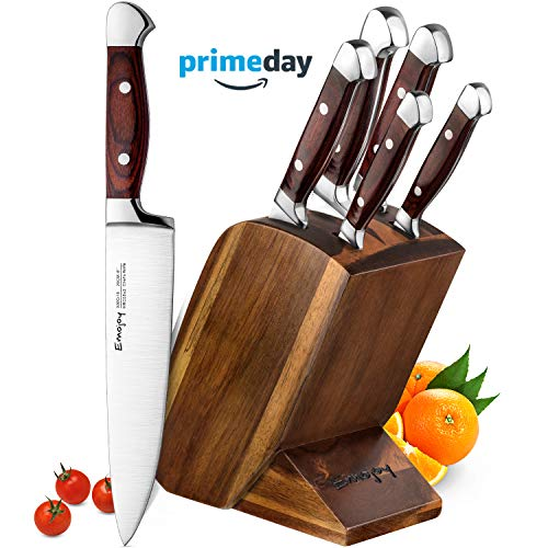 (Emojoy Knife Set, 6 Piece Kitchen Knife Set with Block Wooden, Chef Knife Set, German Stainless Steel, Emojoy (Germen Steel). )