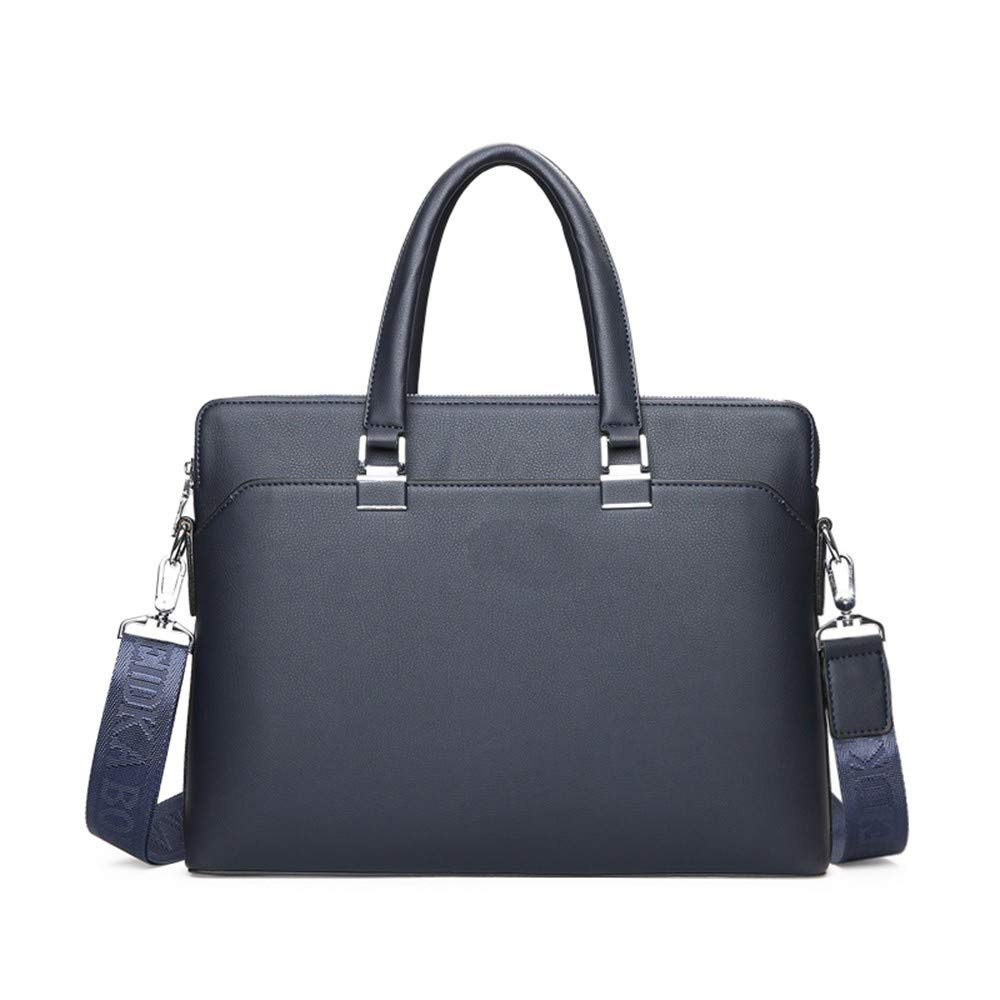 AWMYHKDW Top PVC Zipper Solid Lawyer Mens Bags Business Shoulder Leather Briefcases Blue