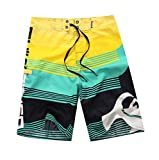 NUWFOR Men's Fashion Casual Printing Patchwork Beach Surfing Swimming Loose Short Pants(Green,US S Waist:30.7'')