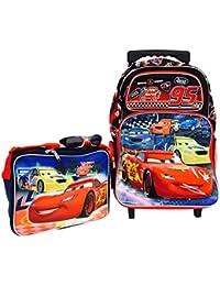 Pixar Cars Large Rolling Backpack and Cars Lunch Bag Set