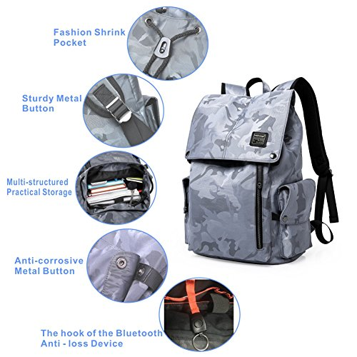 Laptop Outdoor Backpack, Travel Hiking& Camping Waterproof Pack with Bluetooth Anti-Loss Device, Casual Large College School Daypack, Shoulder Book Bags Back Fits 15'' Laptop & Tablets (Grey Camo)