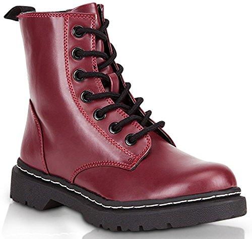 Marco Republic Navigator Womens Military Combat Boots - (Wine) - 8.5 (Combat Boots For Teens)
