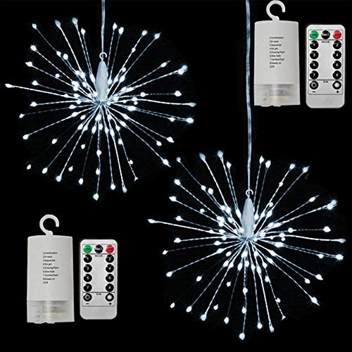 Twinkle Star 120 LED Firework String Lights Battery Operated,Starburst Light with Remote Control Waterproof Fairy String Lights Decor for Indoor Outdoor Christmas Party Garden Wedding, 2 Pack, White