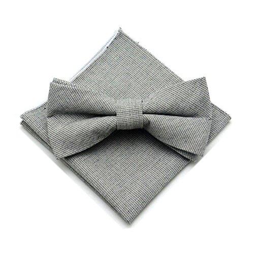 Secdtie Men's Grey Cotton Floral Bow Tie Pre Tied Casual Neck Tie Bowties (Breasted Bow Tie)