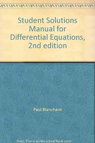 student solutions manual for differential equations 2nd edition rh amazon ca Elementary Differential Equations Solutions Differential Equations Solutions Graff
