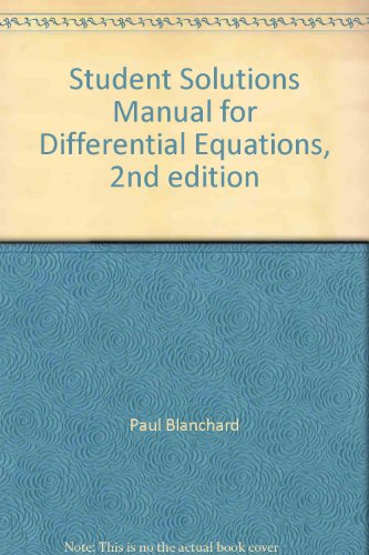 STUDENT SOLUTIONS MANUAL FOR DIFFERENTIAL EQUATIONS (Second Edition)