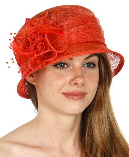 Coral Flower Pink Natural (Sinamay Kentucky Derby Church Dress Wedding Tea Party Bucket Hat, Flower, Flower-Coral)
