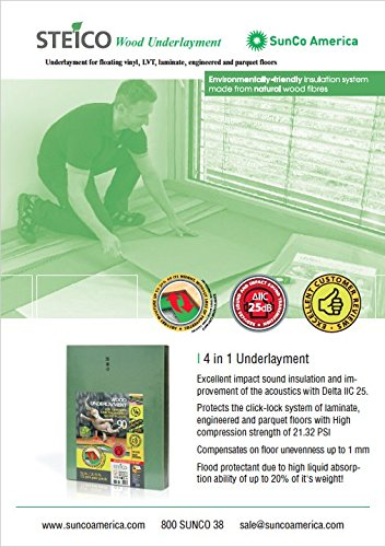 STEICO 4 in 1 soft Underlayment for laminate, engineered wood floor, vinyl, LVT/LVP 6mm 1/4 Inch 90 SqFt with soundproofing natural green wood fibre and excellent airborne and impact sound insulation by STEICO (Image #4)