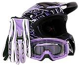 purple riding gear - Adult Offroad Helmet Goggles Gloves Gear Combo Purple Splatter ( Large )