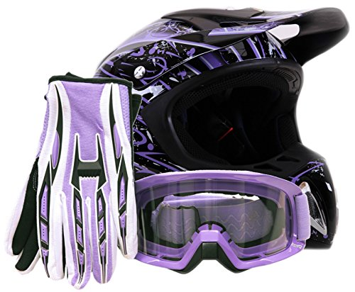 Adult Offroad Helmet Goggles Gloves Gear Combo Purple Splatter ( Medium - Womens Motocross Helmet