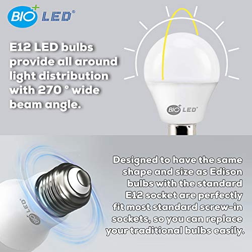 Bioled 6 Pack E12 6W (60Watt Equivalent) Warm White 3000K LED Light Bulbs, Small Base, A15 LED Golf Ball Globe, Ceiling Fan Light Bulbs, Candelabra led Bulbs, G14 Lightbulbs, Chandelier Light Bulbs