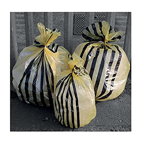 Hanfare TSYB/2 Tiger Stripe Clinical Waste Sacks, Yellow, 20 L (Pack of 50) HPC Healthline
