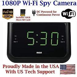 1080P HD WIFI AM/FM Alarm Clock Radio Spy Camera Wireless IP P2P Covert Hidden Nanny Camera Spy Gadget with Free Mobile App No Monthly Fee (16GB, WI-FI MODEL )