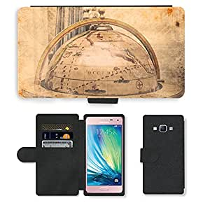 PU Cuir Flip Etui Portefeuille Coque Case Cover véritable Leather Housse Couvrir Couverture Fermeture Magnetique Silicone Support Carte Slots Protection Shell // V00002385 Añada mapa del mundo // Samsung Galaxy A5 (not fit S5)