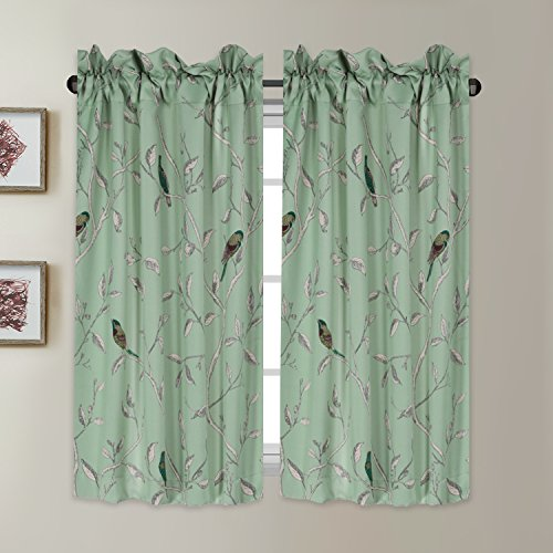 H.VERSAILTEX Ultra Soft Textured Woven Kitchen Curtains, Rod Pocket Window Curtain Tiers for Café/Bath / Laundry/Bedroom - Sage Base with Turquoise Birds - (58 W x 45 L Pair)