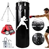 JoyPlus Punching Bag UNFILLED with Boxing Gloves Free for Adult / Kids, Boxing Bag Empty for Kickboxing Fitness Training Muay Thai MMA, Martial Arts, Home Gym (Color: black)