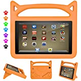 Amazon Kindle Fire HD 8 Tablet Kids Case- Lmaytech Light Weight Shock Proof Handle Friendly Convertible Stand Kids Case for Fire HD 8 inch Display Tablet (Fire HD 8 Case, orange)