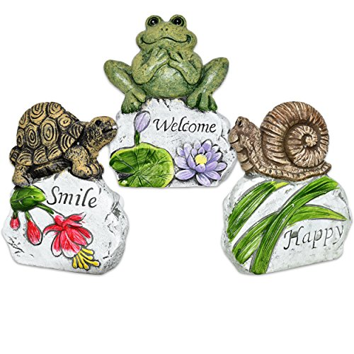 Cheap Gift Boutique Miniature Fairy Garden Spring Decor Frog Snail Turtle Sculpture Set of 3 Welcome Animal Cement Rock Stones Outdoor Statue Figurines for Lawn Patio Desk Yard Home Landscape Accessories