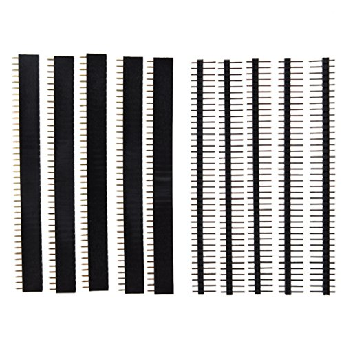 (5 Pcs 40 Pin 2.54Mm Single Row Straight Male + Female Pin Header Strip)