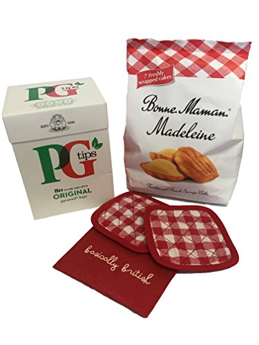 (British PG Tips (80) & Bonne Maman Madeleines with coaster gift set, from Britain )